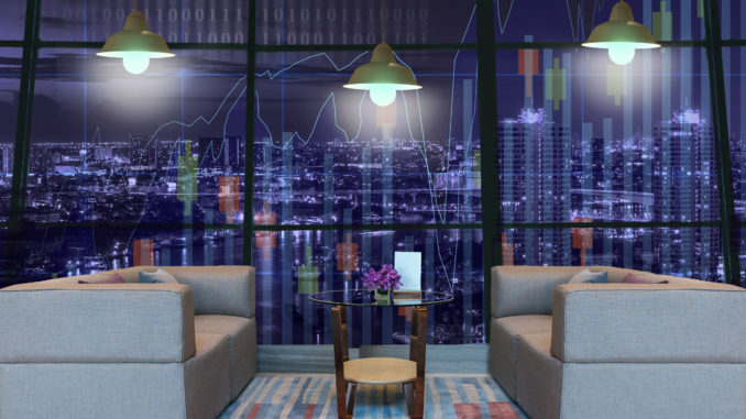 Lobby area of a hotel which can see Trading graph on the cityscape at night background with lighting,Business financial concept